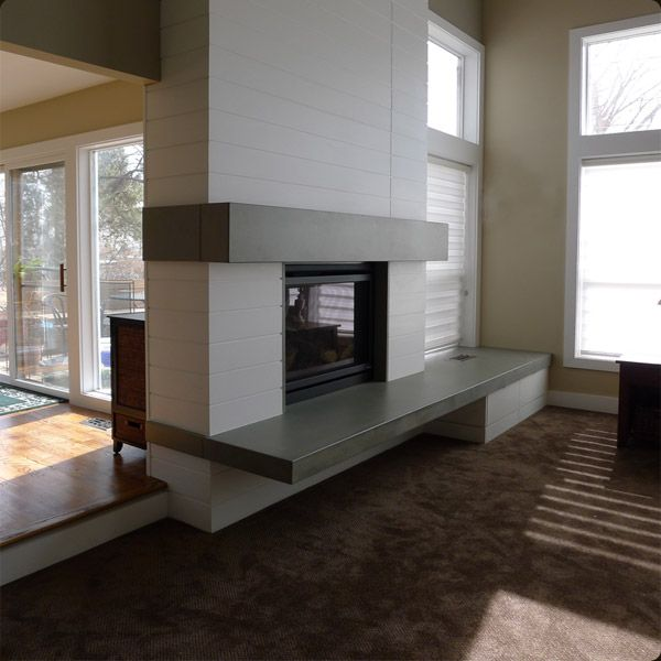 405 best see thru fireplaces images on pinterest dining for Concrete mantels and hearths