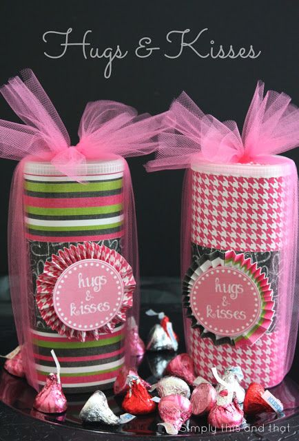 Simply This and that: Hugs and Kisses Gift Idea - Made from Crystal Light Containers. Cute for Valentine's Day! ♡