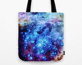Galaxy Tote Bag, Blue Galaxy Tote Bag, Blue Tote Bag, Canvas Tote, Large Tote, Market Tote, Book Bag, Horsehead Nebula, Blue Bag