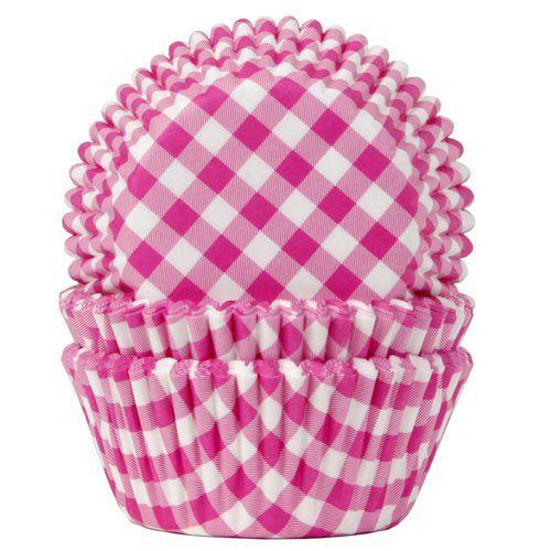 Papírové pečící košíčky růžovo-bílá kostička