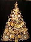 Vintage Jeweled Christmas Tree ~ Jewelry Framed Champagne tones Art