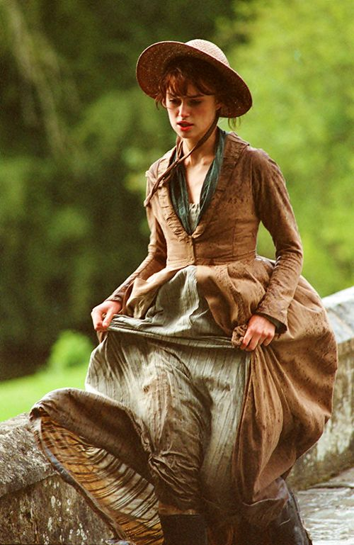 """Running and rainswept.  """"I really wanted to avoid the Jane Austen bonnet thing, but for this scene where she´s leaving church in the rain, I was persuaded she would have to wear one.""""  (Joe Wright, Director)"""