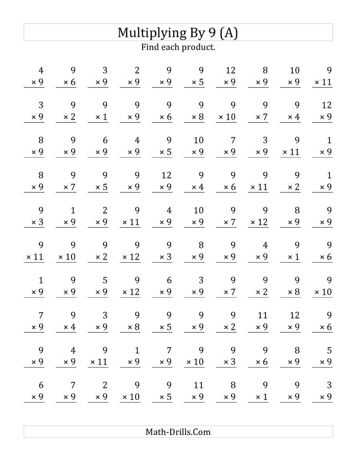 the multiplying 1 to 12 by 9 a math worksheet from the multiplication worksheet page at math. Black Bedroom Furniture Sets. Home Design Ideas