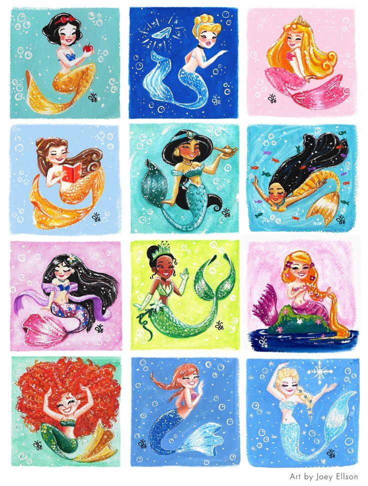 All of the Disney Princesses as mermaids.