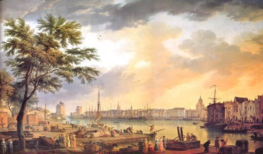 """""""The Port of La Rochelle"""", 1762,  by Joseph Vernet. On the right, two different types of coasters are represented. One of them is a low, slender 'racing' Morbihan chasse-marée specialized in the fast transport of fresh sardine to Nantes, La Rochelle and Bordeaux. Great financial and nautical risks are taken  to bring the fish in good condition and to be the first on the market. Crews are reputed as the toughest sailors of the Atlantic coast and nicknamed """"risque-tout"""", especially the…"""