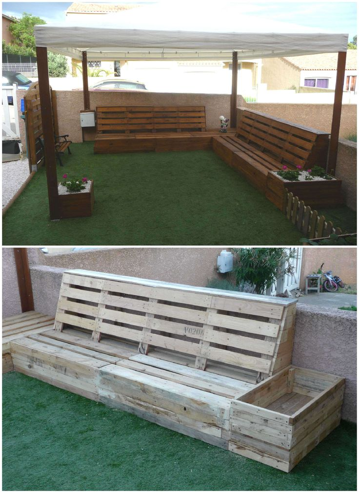 Here is my new pallet corner for the garden entirely made from repurposed pallets.