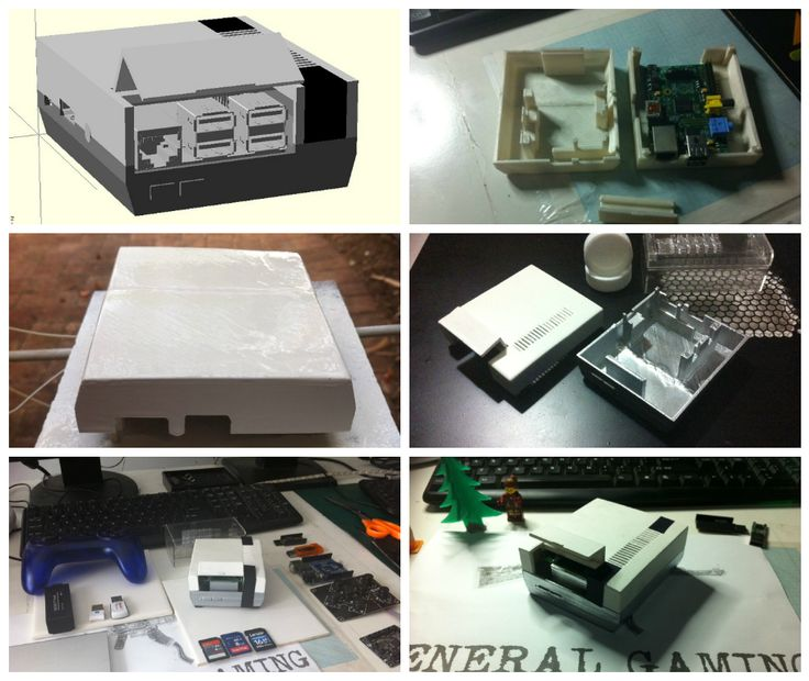 3d printed retro Nintendo NES case for a Raspberry Pi 80% complete  http://www.thingiverse.com/thing:307832
