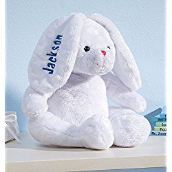 Personalized Easter White Plush Bunny