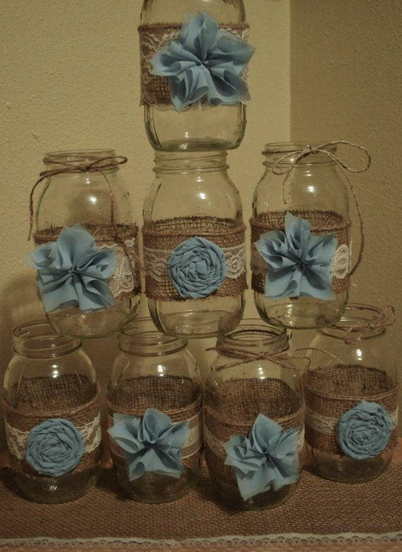 Set of 8 Mason Jar Sleeves, Rustic Wedding, Baby Boy Shower, Mason Jar Wedding, Shabby Chic, Wedding Decorations, Jars not Included
