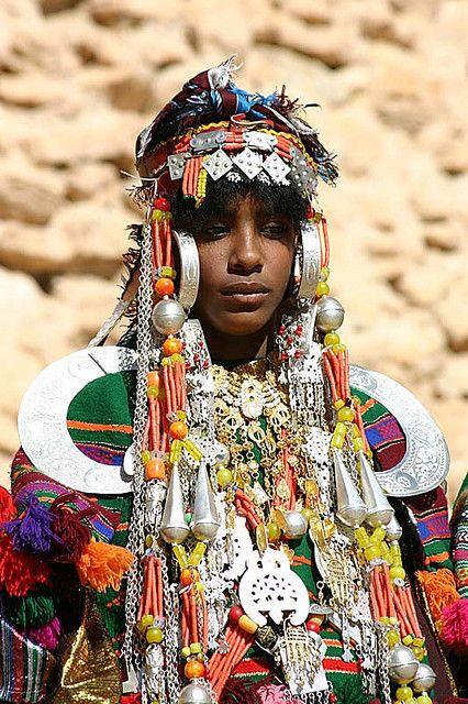 Africa | Woman photographed in Jabal Nafusa, Libya (2005) | © James Leggate. Ghadames girl, dressed for the festival time.