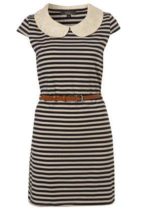 peter pan collar stripe dress