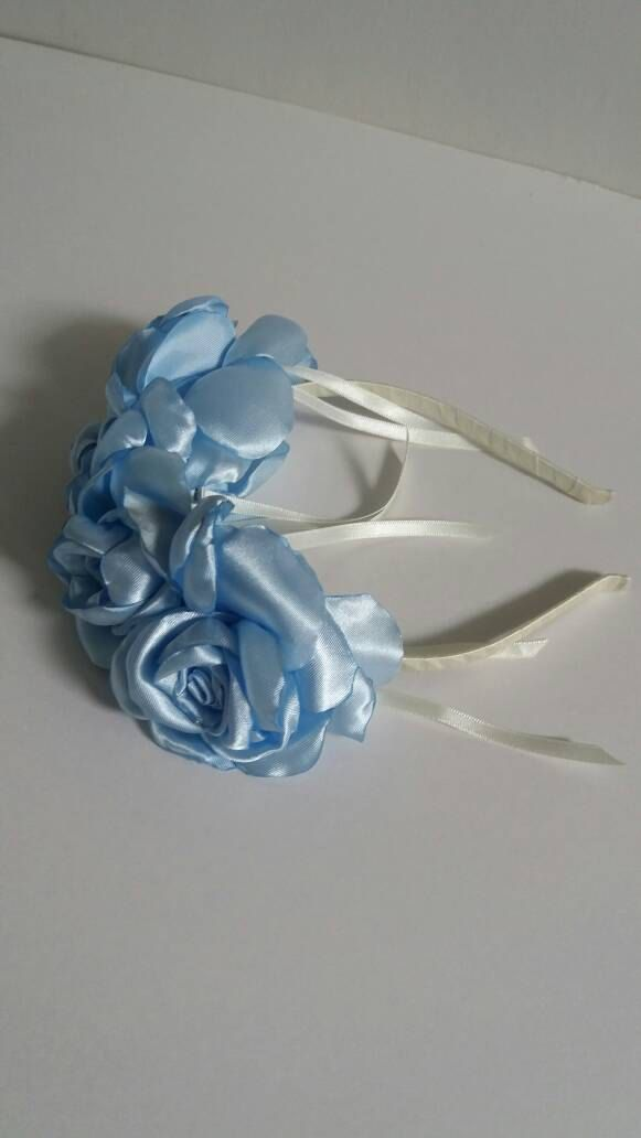 Light Blue satin finish fabric rose hair band / tiara /crown by redrosehandmade on Etsy