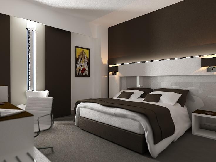 Prototipo de habitaci n de hotel moderna 3d for Simulador de habitaciones 3d online