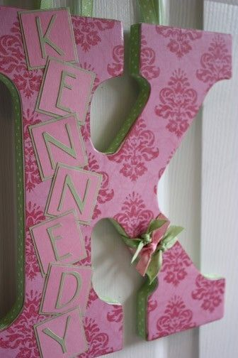 Custom wall letter, with whole name on letter!The Doors, Crafts Ideas, Gift Ideas, Baby Girls Names Crafts, Kids Room, Cute Ideas, Girls Room, Custom Wall, Wall Letters
