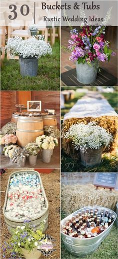 40 Ways to Use Buckets / Tubs for Your Wedding Decor / http://www.deerpearlflowers.com/rustic-buckets-tubs-wedding-ideas/