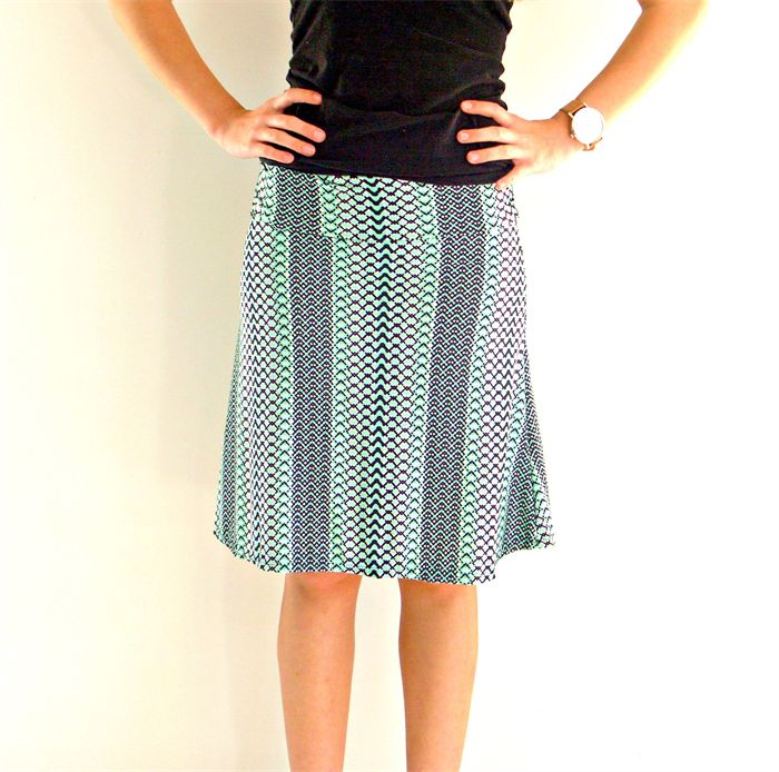 Black and Mint Geo Print Women's Skirt