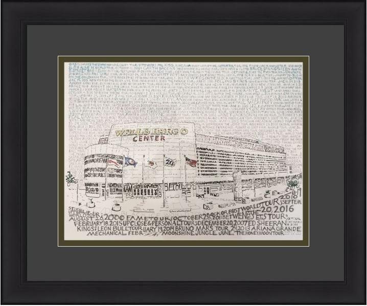 """Philadelphia Wells Fargo Center Daniel Duffy Word Art 16"""" x 20"""" Framed and Matted Photo"""