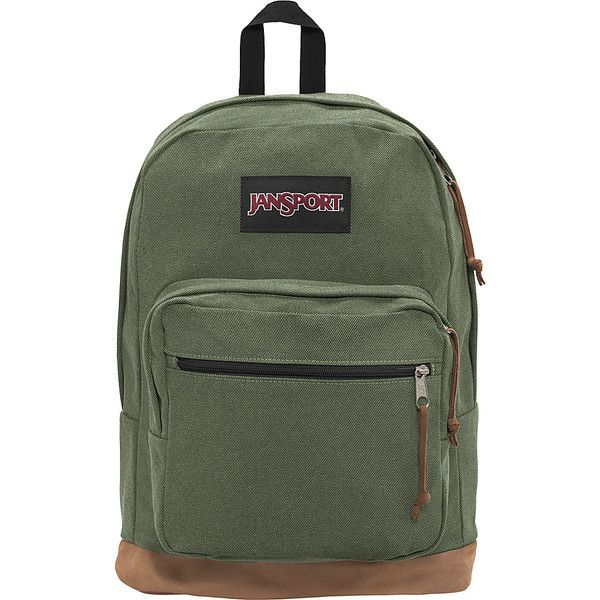 """JanSport Right Pack Laptop Backpack - 15"""" - Muted Green - Laptop... ($65) ❤ liked on Polyvore featuring bags, backpacks, green, pocket bag, jansport daypack, laptop backpack, green backpack and laptop bags"""