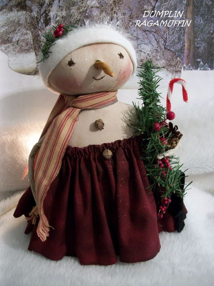 Primitive Christmas Craft Ideas Part - 33: Primitive Snow Doll, Folk Art Christmas Collectible By Dumplinragamuffin
