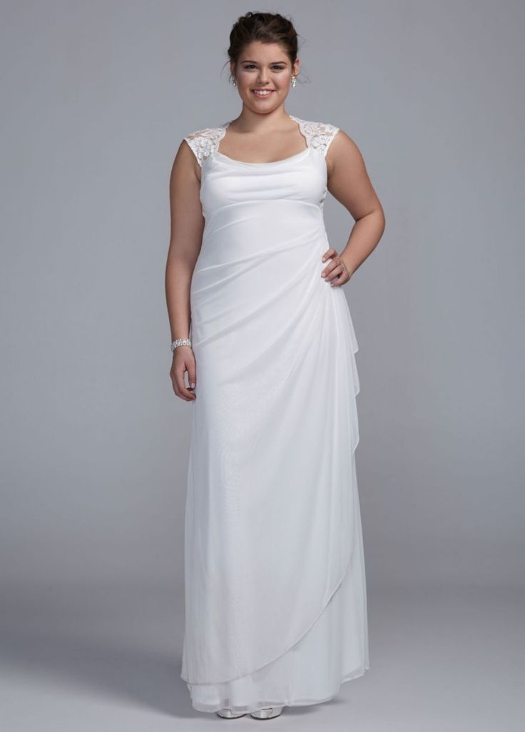 Lace Cap Sleeve Long Matte Mesh Dress David S Bridal