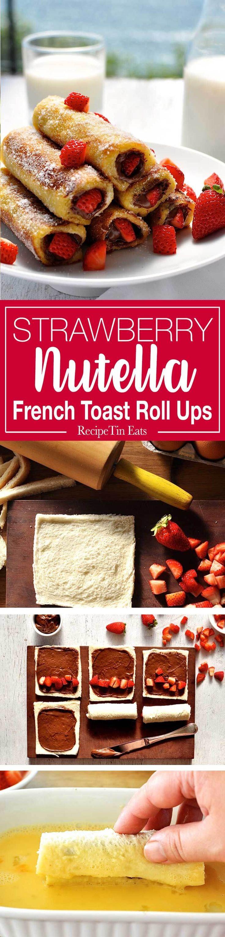 Strawberry Nutella tostada francesa arrollados - sólo un puñado de ingredientes para hacer esto en 15 minutos.  Prueban como rosquillas!  www.recipetineats.com