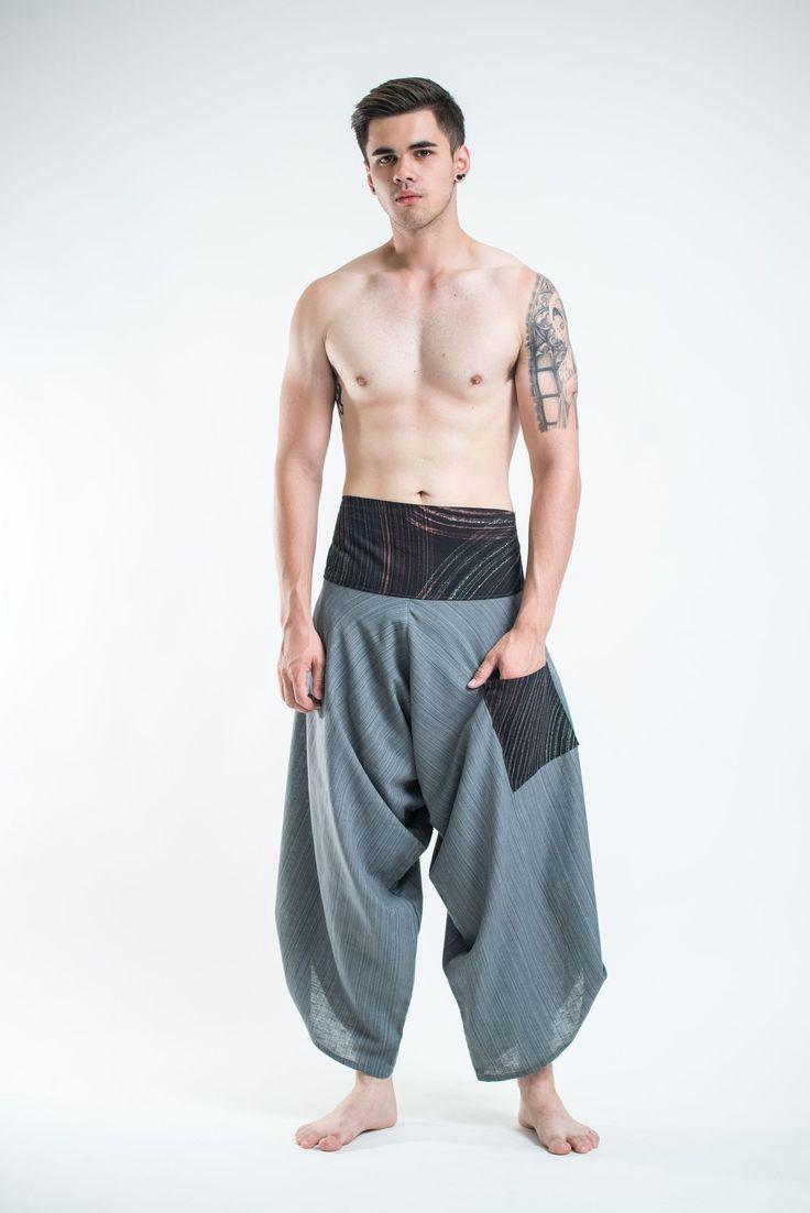 Men's Pinstripe Button Up Cotton Pants with Hill Tribe Trim Gray – Harem Pants