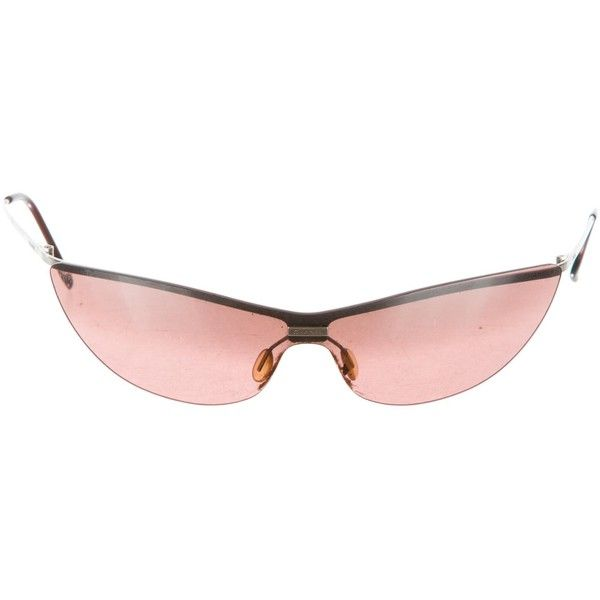 Pre-owned Chanel Rimless Cat-Eye Sunglasses ($75) ❤ liked on Polyvore featuring accessories, eyewear, sunglasses, silver, chanel glasses, pink cat eye glasses, rimless sunglasses, logo lens sunglasses and cat-eye glasses