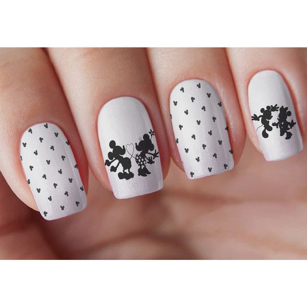 Mouse Couple Silhouette Nail Decal ($4) ❤ liked on Polyvore featuring beauty products, nail care, nail treatments and multicolor