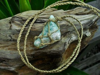A lovely natural piece of hemp wrapped amazonite.