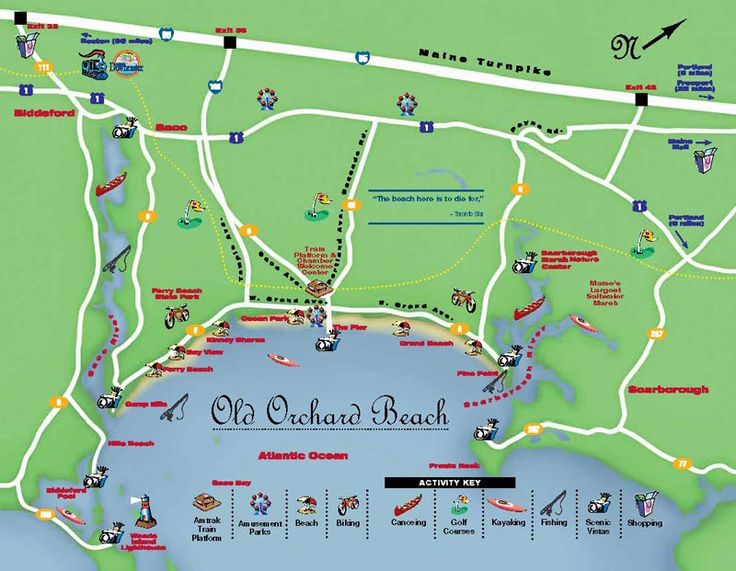 Click Here to Enlarge this Old Orchard Beach Maine Map. From Boston take the Downeaster Amtrak