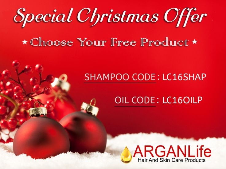 "Christmas Campaign!  For purchases $ 100 and more, you will have 1 more ""FREE"" ARganLife product !  Get Your Code For Free Product: Promo Code For 50ml ARGANLife Argan Oil: LC16OILP Promo Code For 250ml ARGANLife Shampoo: LC16SHAP  Write the code on ""Instructions to Merchant"" on Paypal.  Or  Send the code through email, before purchasing:   info@lifeargan.com  Buy on: www.ebay.com/usr/arganlifeproducts"