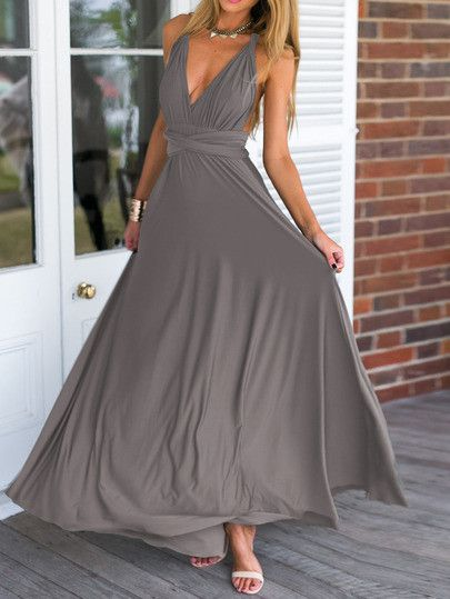 This is a lovely,  flowy, maxi dress. I love how the back ties. Gray is soft, but it might be nice in a color too.  Navy? Eggplant?