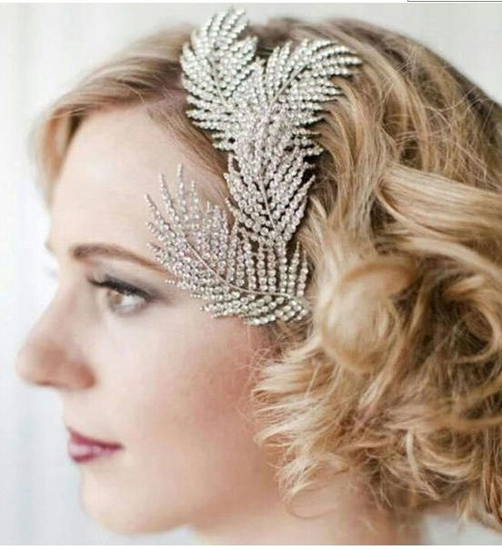 Luxury Crystal Feather Hair Clip Hairpin, Wedding Evening Head Accessories FREE SHIPPING