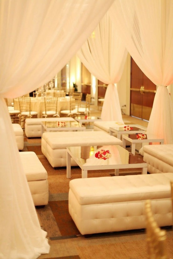 Nice idea for wedding chill out or bar area. Like the draping and the private sections. LMC