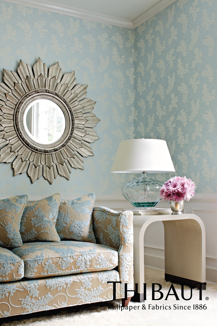 Large Silver Colour Sunburst Mirror On Spring In Aqua Non Wove Wallpaper From Avalon