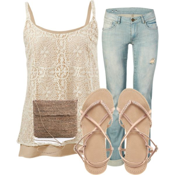 Mixing girlie lace with deconstructed jeans...♡
