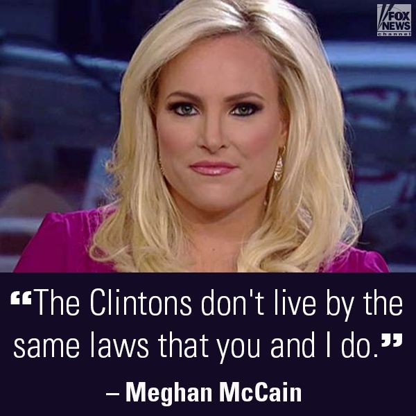 """Meghan McCain said """"Hillary Clinton could probably murder someone and somehow she'd get away with it. Hands down."""" What do you think?"""