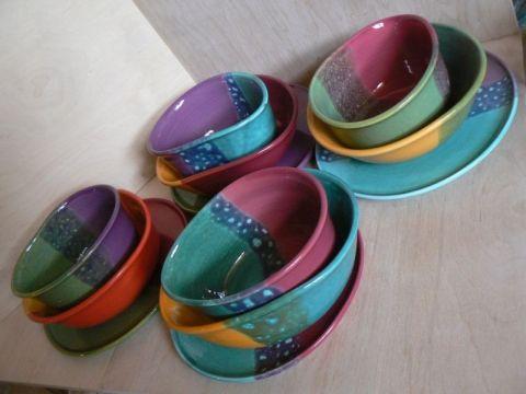 Vidám részeges kerámia tányér készlet, gabigobre, meska.hu #funny #colorful #plate #set