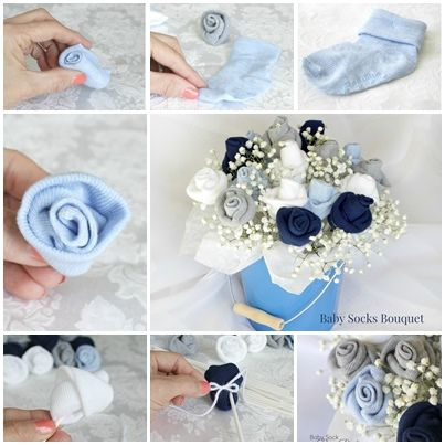 Great  gift for baby shower ---DIY Baby Sock Rose Bouquet !    Check out--> http://wonderfuldiy.com/wonderful-diy-baby-sock-rose-bouquet/
