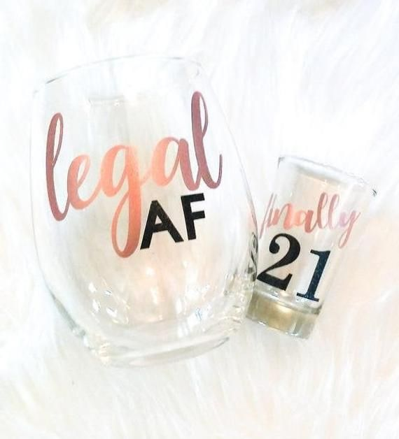 Free Personalization Set Of 2 21st Birthday Gift For Her 21st