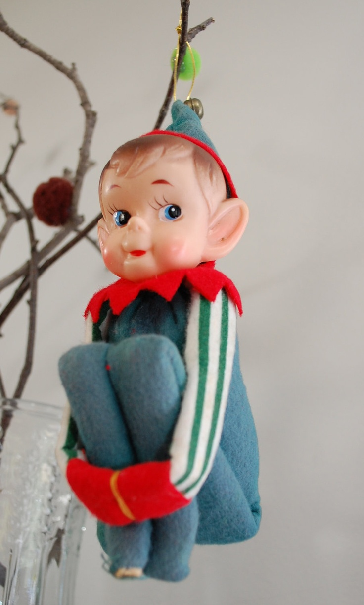 Vintage Christmas Ornament Pixie Elf Knee Hugger, 1950's Large My Momma  Loved Her Christmas