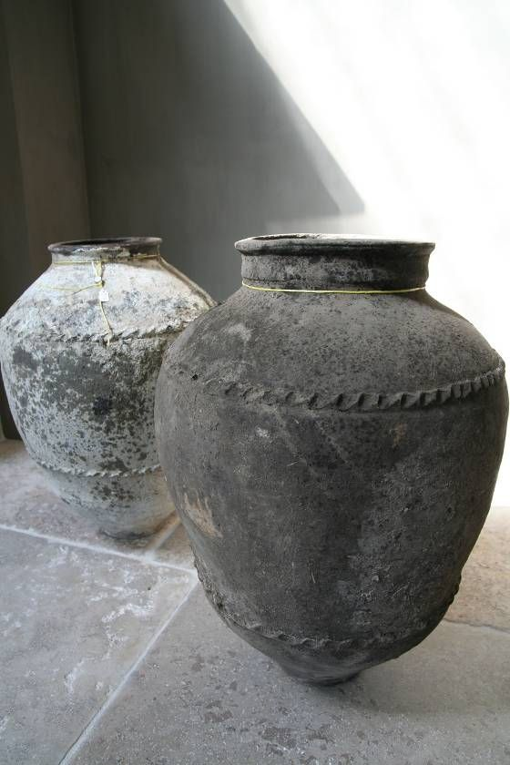 Antique Vases :: INSPIRATION :: imbed 'homemade' twine, rope in concrete, hypertufa, etc projects...