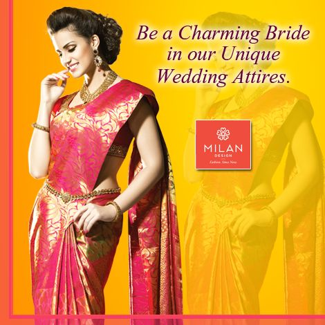 Be a unique bride in your beautiful moment and shop the best bridal sarees from #MilanDesign Discover the wonderful sarees here: www.milandesign.in #BridalSaree #MilanDesign