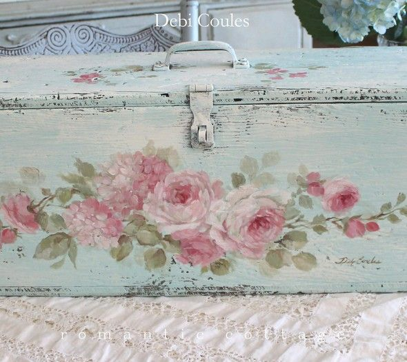 Shabby Chic Vintage Roses and Hydrangeas Trunk ~ Keepsake Box by Debi Coules - Debi Coules Romantic Art