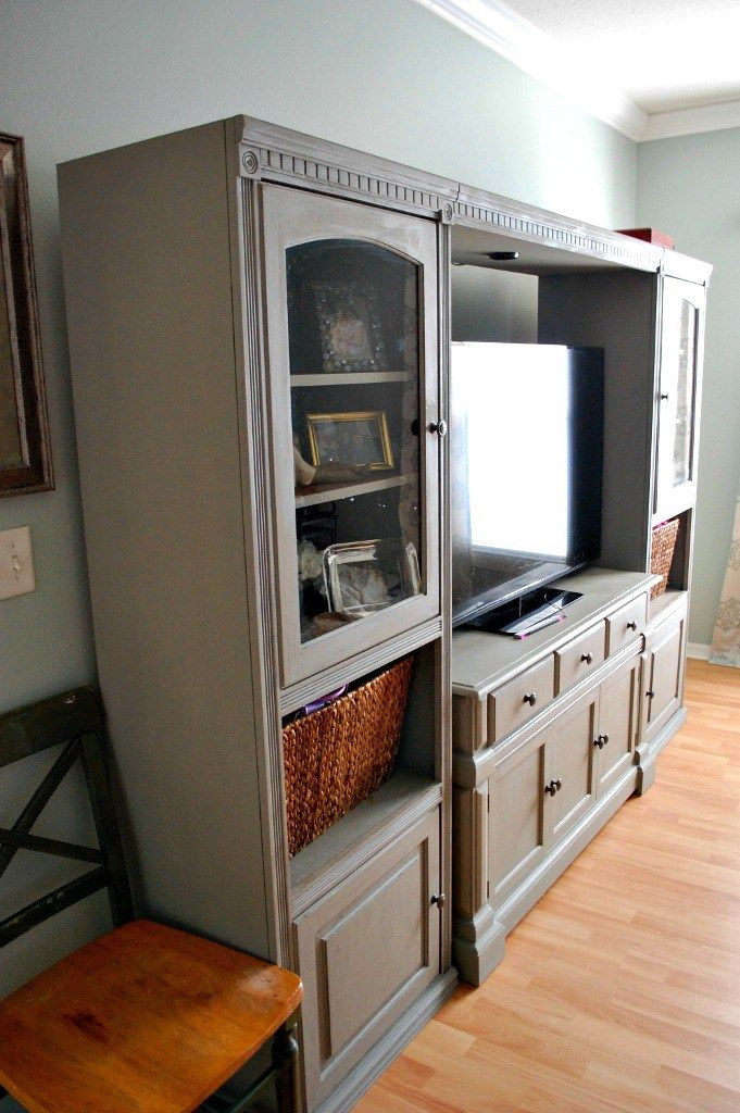 makeover furniture ideas. affordable diy entertainment center makeover with annie sloan chalk paint in french linen missfrugalfancypants furniture ideas
