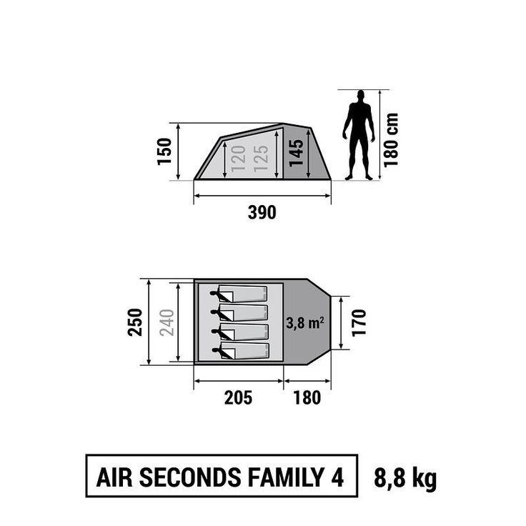 Kempingezés Kempingezés - Air seconds family 4 sátor QUECHUA - Hegy - QUECHUA