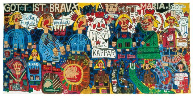 Auteurs dArt Brut, une sélection de 60 auteurs sur les 400 que compte la Collection de l'Art Brut, Lausanne, Suisse. Auteur August Walla -