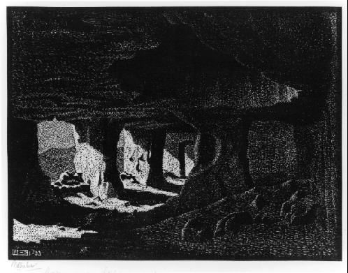 M.C. Escher – Cave Dwellings (near Sperlinga) Sicily, 1933, Woodcut