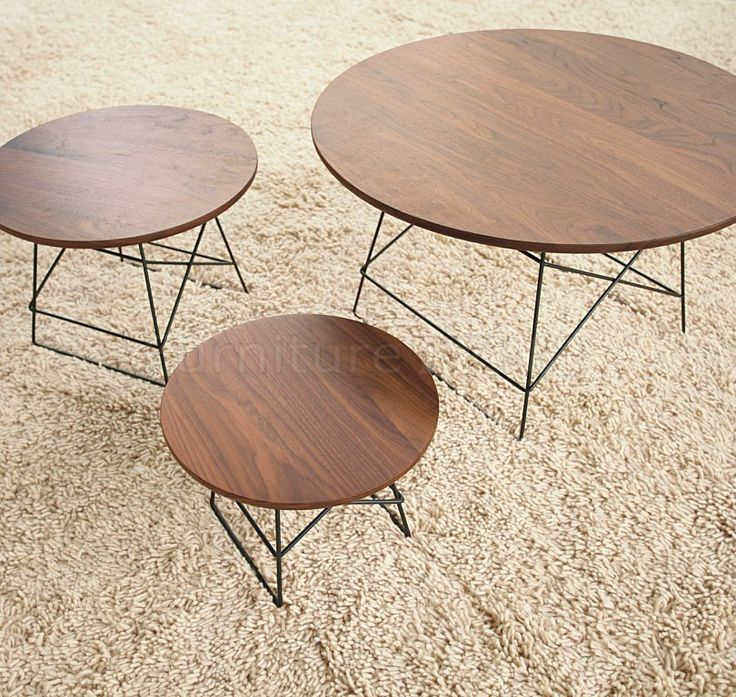 Walnut Finish Modern 3Pc Coffee Table Set W/Metal Legs