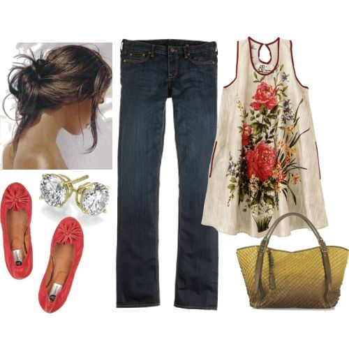 this would totally mask my muffin top. : Floral Tops, Color Palettes, Red Shoes, My Style Pinboard, Long Hair, Cute Summer Outfit, Jeans, Ballet Flats, Spring Outfit
